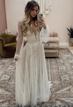 Vestido de noche de velo de manga larga con cuello en V blanco sexy de otoño