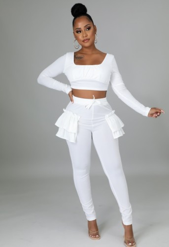 Fall Sexy White Square Neck Long Sleeve Crop Top and Fitted Ruffled Pants