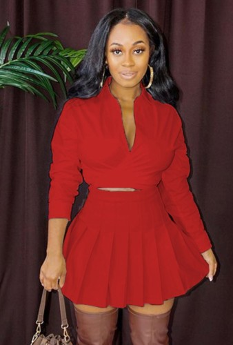 Fall Sexy Red Turndown Collar Long Sleeve Crop Blouse and Pleated Skirt Set