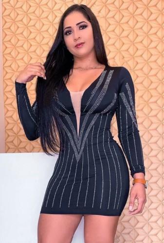 Herbst Sexy Schwarz Perlen V-Ausschnitt Langarm Bodycon Kleid
