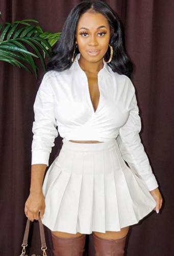 Fall Sexy White Turndown Collar Long Sleeve Crop Blouse and Pleated Skirt Set