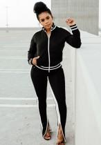 Autunno casual nero con piping bianco ritagliato manica lunga cerniera top e pantalone