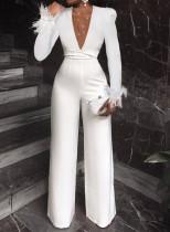 Herbst Eleganter Weißer Perlen Mesh Patchwork V-Ausschnitt Pelz Langarm Weiter Overall