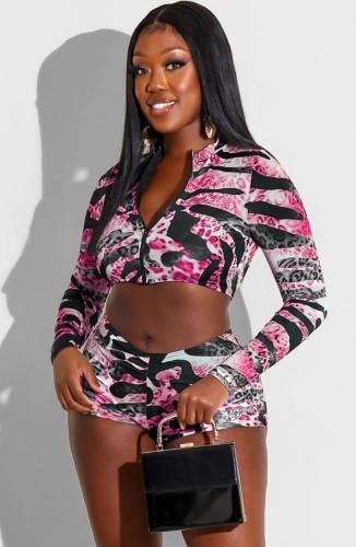 Conjunto de top corto de manga larga con cremallera abierta y estampado de leopardo sexy de otoño y mini pantalones cortos