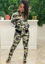 Herbst Casual Camouflage Matching Langarm Reißverschluss Top und Hose Trainingsanzug