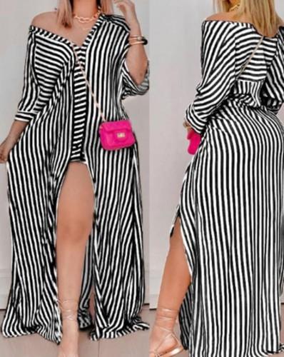 秋の黒のストライププリントボタン-オープン長袖シャツロングドレス
