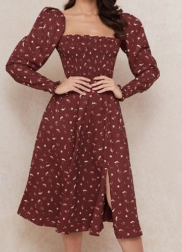 Fall Village rode print midi-jurk met U-hals en lange mouwen en split