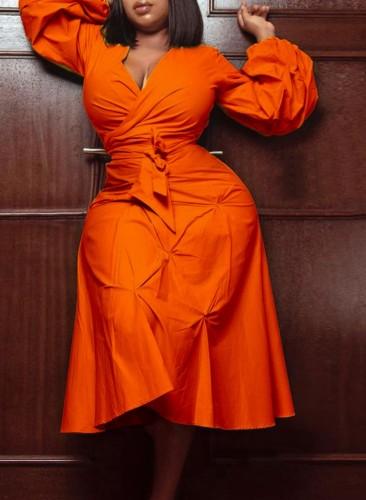 秋プラスサイズトレンディなオレンジVネックパフスリーブタイドミディドレス