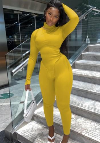 Осенний сексуальный желтый с высокой горловиной и длинным рукавом, нерегулярный топ и облегающие брюки