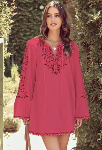 Herfstrode Kaftan-blouse met bloemenprint en manchetten met lange mouwen