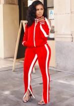 Autunno Casual Rosso Con Piping Bianco Tagliato A Maniche Lunghe Con Cerniera Top E Pantalone