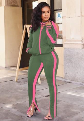 ピンクのパイピングカットアウト長袖ジッパートップとパンツセットで秋のカジュアルグリーン