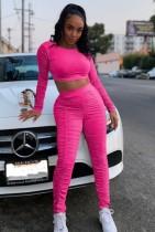 Set di 2 pezzi con top corto e pantalone a maniche lunghe rosa sexy con rughe autunnali
