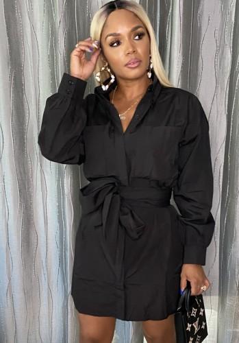 ベルト長袖シャツドレスと秋のカジュアルな黒のポケット