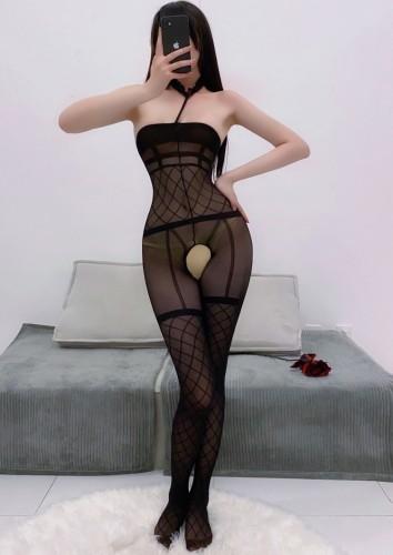 Sexy preto gargantilha gargantilha tubo buraco de fechadura uma peça madura bodystocking lingerie