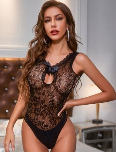 Lingerie sexy com renda preta sem mangas