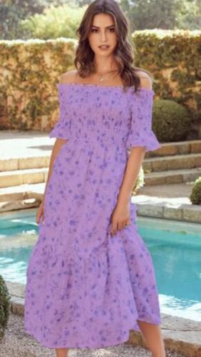 Abito lungo a maniche corte con stampa floreale viola estivo con spalle scoperte