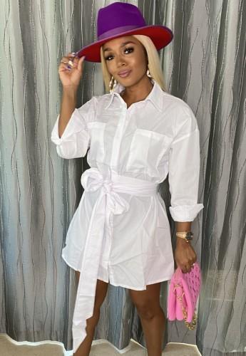 ベルト長袖シャツドレスと秋のカジュアルな白いポケット