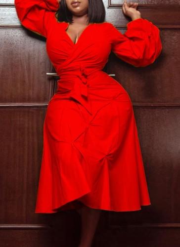 秋プラスサイズトレンディな赤いVネックパフスリーブタイドミディドレス