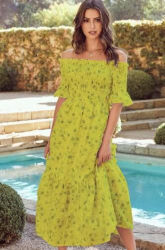 Abito lungo a maniche corte con stampa floreale verde estivo con spalle scoperte