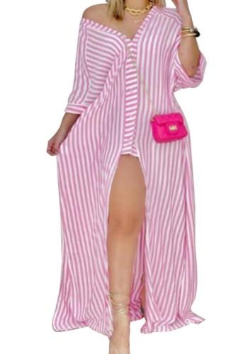 秋のピンクのストライプのプリントボタン-オープン長袖シャツロングドレス