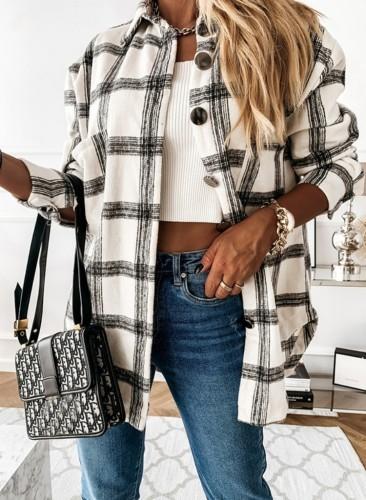 Fall White Checks Designs Shirt met lange mouwen en knopen