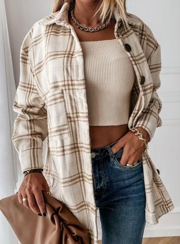 Herfst Kahaki Checks Designs Shirt met lange mouwen en knopen