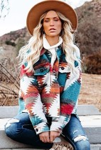 Winter Fashion Print Chest Pocket Jacket