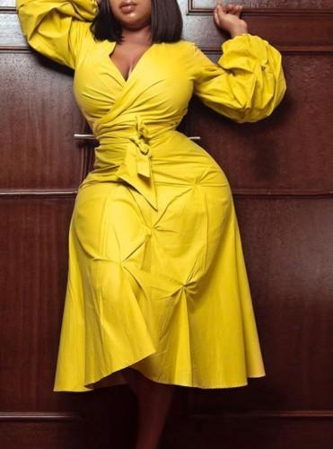 秋プラスサイズトレンディな黄色のVネックパフスリーブタイドミディドレス