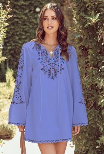 Herfst paarse Kaftan bloemenprint halslijn en manchet lange mouw blouse