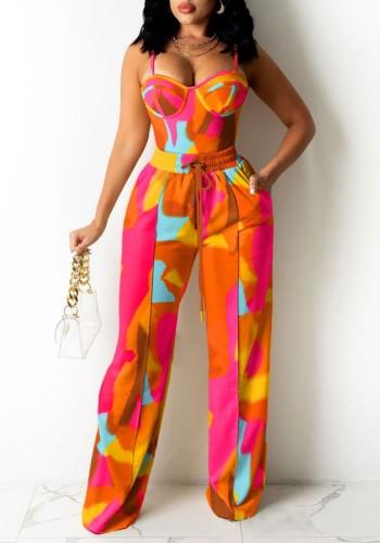 Ensemble de gilet et de pantalons de survêtement décontractés d'été à bretelles colorées