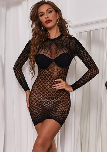 Vestido preto sexy de renda longa Lseeve arrastão de noite madura para dormir