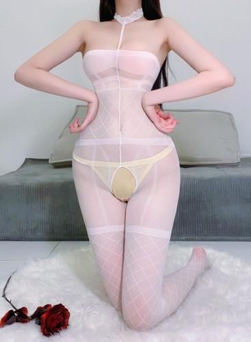 Gargantilha branca sexy tubo buraco de fechadura lingerie madura bodystocking de uma peça
