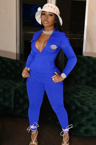 Herfst Casaul blauwe rits-up print-logo met zak jumpsuit