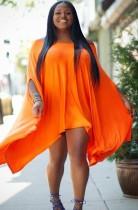 Vestido casual holgado de gran tamaño con hombros descubiertos naranja elegante de otoño