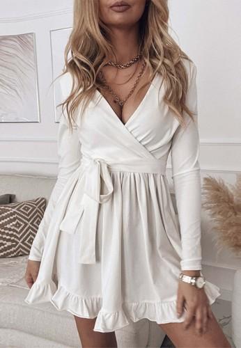 Mini vestido plisado de manga larga con cuello cruzado blanco casual de otoño
