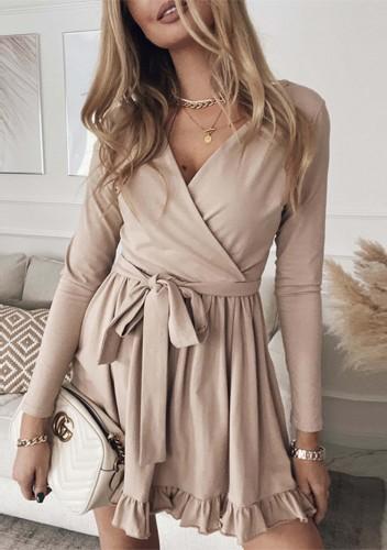 Minivestido plisado de manga larga con cuello cruzado marrón casual de otoño