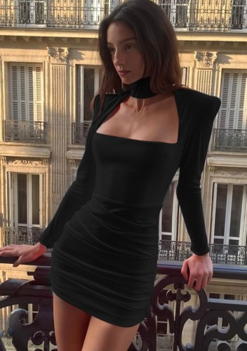 Herfst sexy zwarte hoge hals keyhole gewatteerde schouder lange mouw ruches mini-jurk