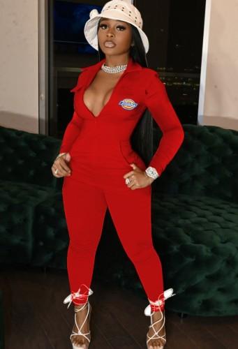 Herfst Casaul rood rits-up print-logo met zak jumpsuit