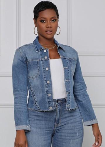 Herfstblauw jeansjack met lange mouwen en zak