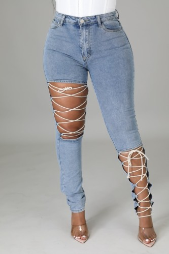 Fall Fashion Blue Hollow Out Bandage Slim Jeans