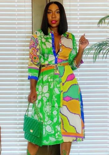 Herfst elegante midi-jurk met knopen en lange mouwen