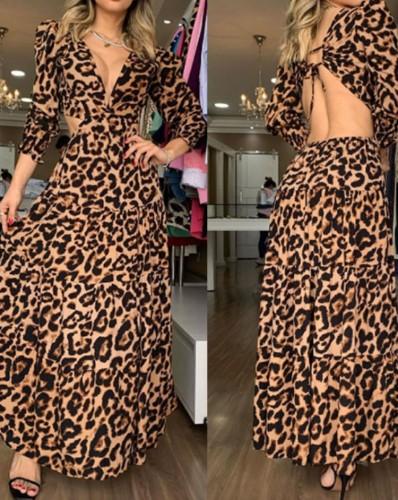 Abito lungo a maniche lunghe senza schienale con scollo a V leopardato sexy autunnale