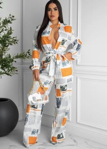 Herfstmode Krant Print Button Up Met Riem Losse Jumpsuit