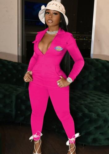 Herfst Casaul roze rits-up print-logo met zak jumpsuit
