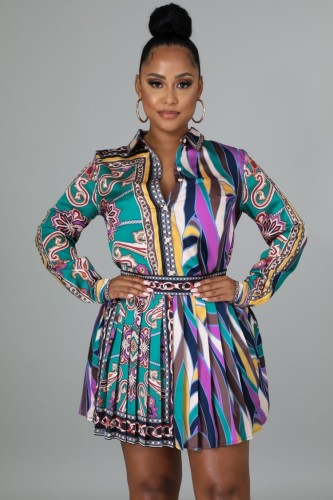 Fall Print Retro Long Sleeve Blouse And Pleated Skirt Set
