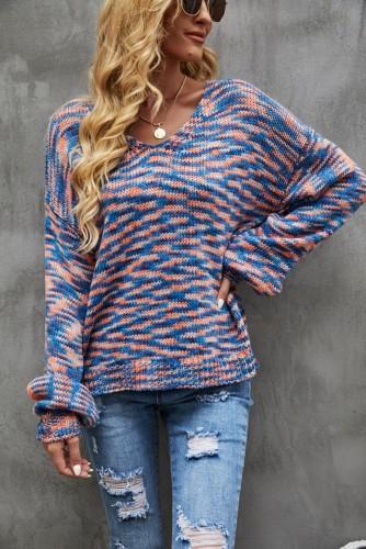 Pull à manches longues teint en fil à la mode d'automne