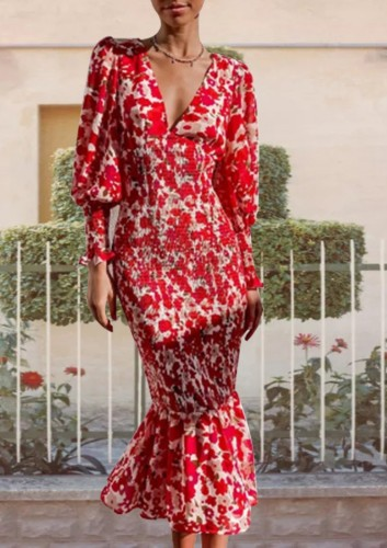 Herfst elegante rode bloemen v-hals pofmouw midi zeemeermin jurk