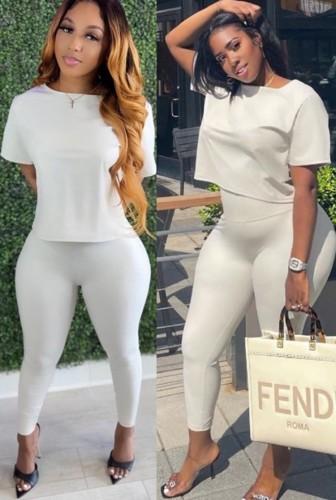 Conjunto de calça skinny de cintura alta e top de manga curta básico em couro branco plutônio na moda para o outono