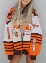 Fall Casual Print Orange Long Lseeve Loose Oversize Jacket